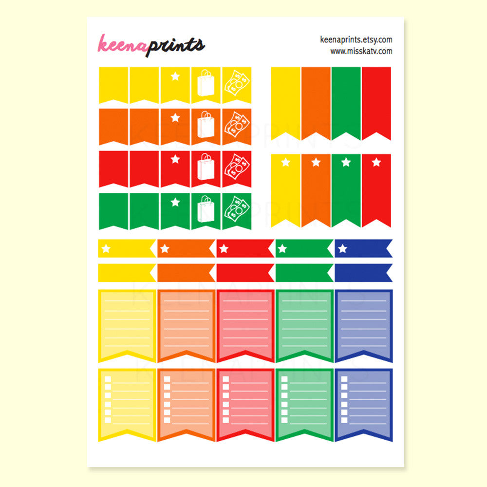 CHECKLIST FLAGS COLLECTION PRINTABLE STICKERS - BRIGHTS - KeenaPrints planner stickers bullet journal diary sticker emoji stationery kawaii cute creative planner