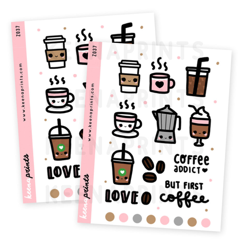 COFFEE ADDICT STICKERS DAILY Z037 - KeenaPrints planner stickers bullet journal diary sticker emoji stationery kawaii cute creative planner