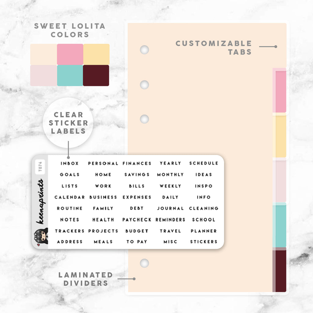 SWEET LOLITA CUSTOMIZABLE LAMINATED DIVIDERS