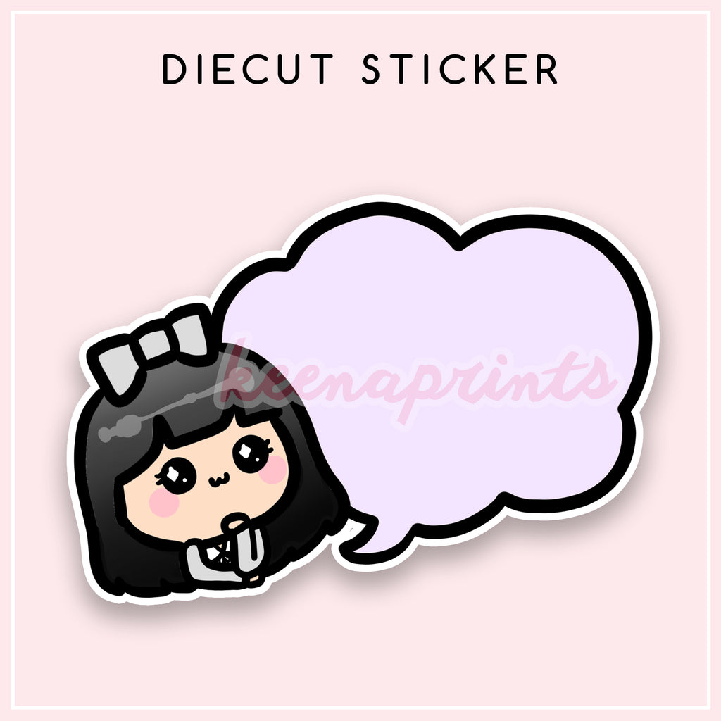 PURPLE SPEECH DIECUT LOLA STICKER - DC063