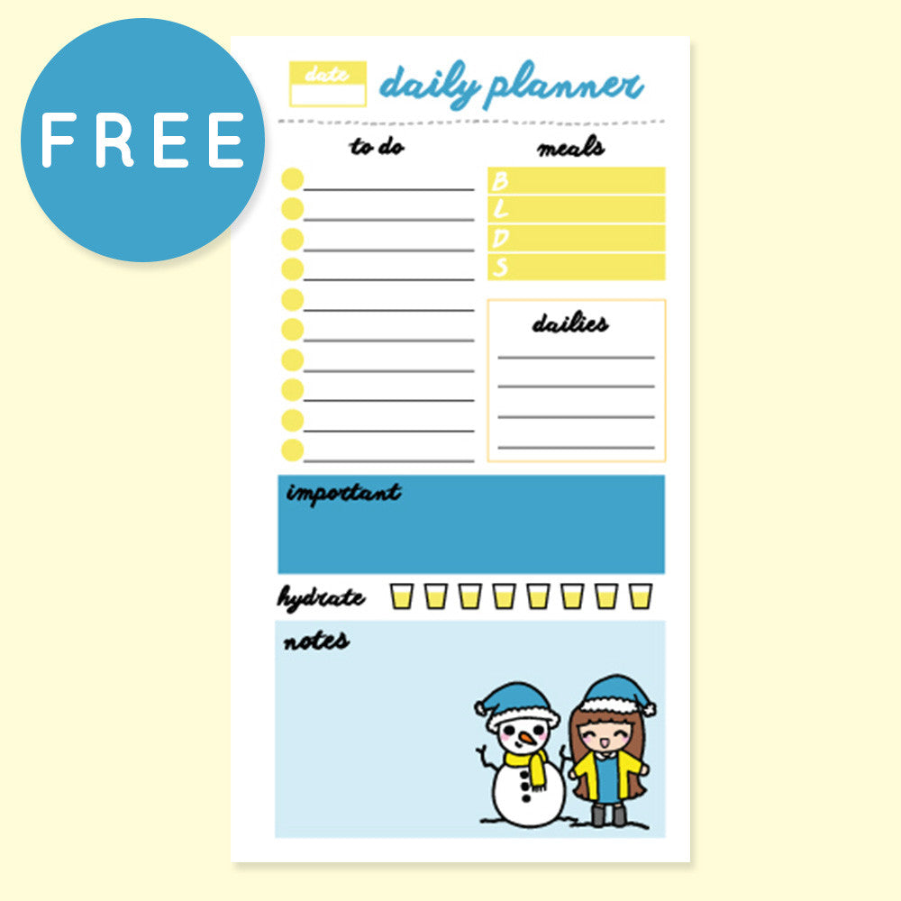 WINTER DAILY PLANNER FREE PRINTABLE [PERSONAL RINGS] - KeenaPrints planner stickers bullet journal diary sticker emoji stationery kawaii cute creative planner