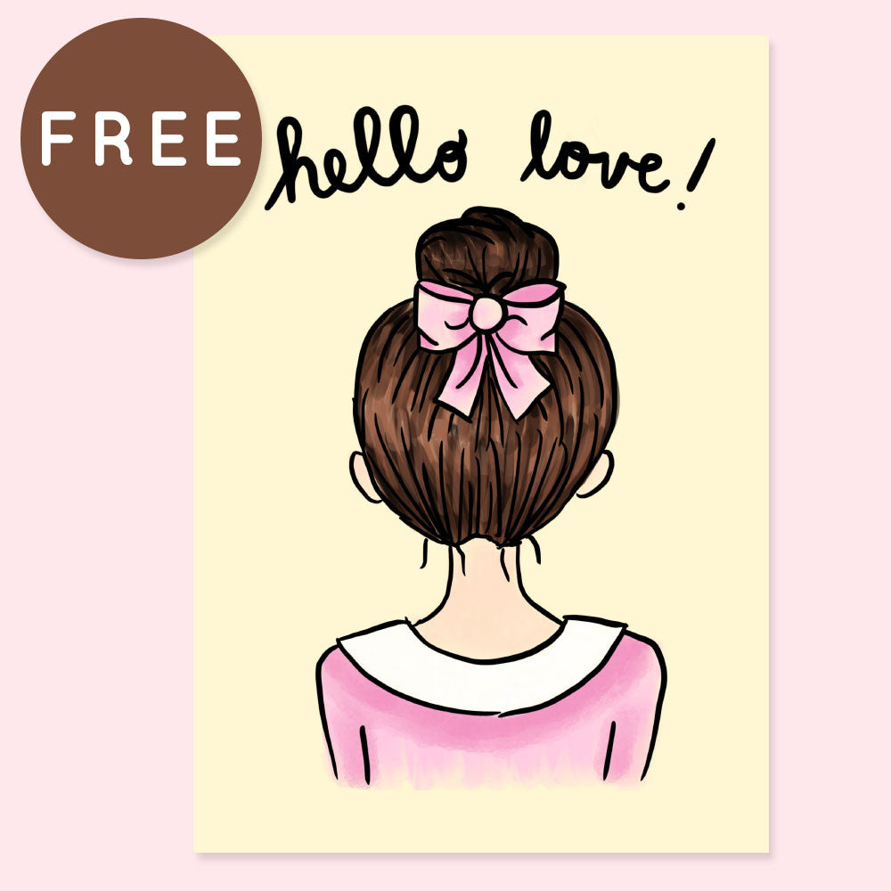 HELLO LOVE FREE PRINTABLE [A5 SIZE] - KeenaPrints planner stickers bullet journal diary sticker emoji stationery kawaii cute creative planner