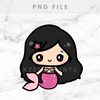 PINK MERMAID CHIBI LISA PRINTABLE CLIP ART - P006