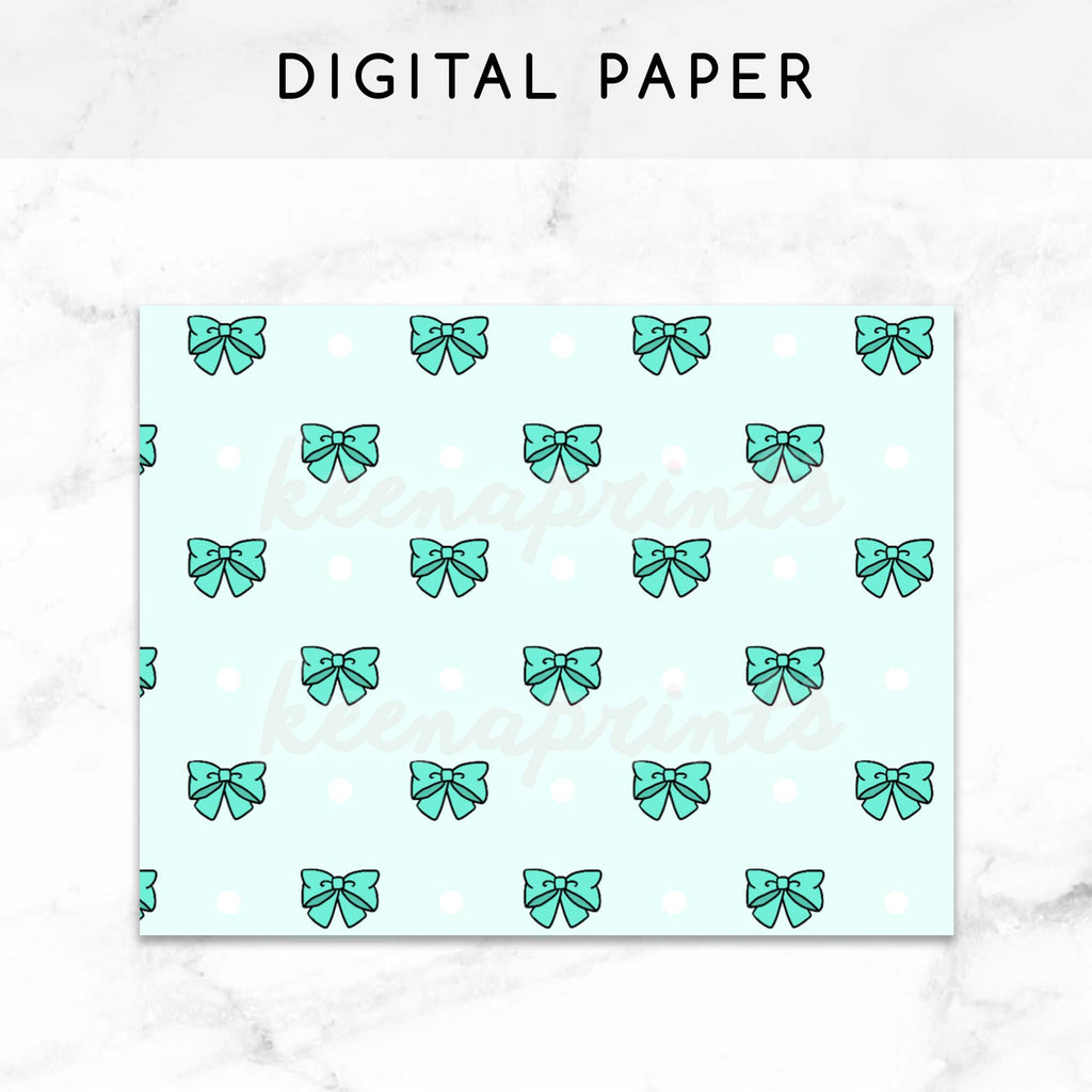 photograph relating to Bullet Journal Paper Printable named TEAL BOWS Electronic PAPER PRINTABLE