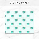 TEAL BOWS DIGITAL PAPER PRINTABLE - KeenaPrints planner stickers bullet journal diary sticker emoji stationery kawaii cute creative planner