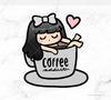COFFEE ADDICT LOLA PRINTABLE CLIP ART - L178