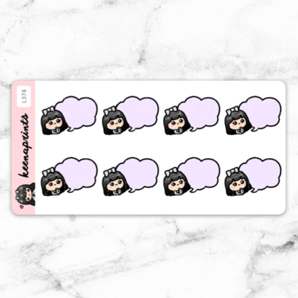 PURPLE SPEECH BUBBLE STICKERS LOLA - L376