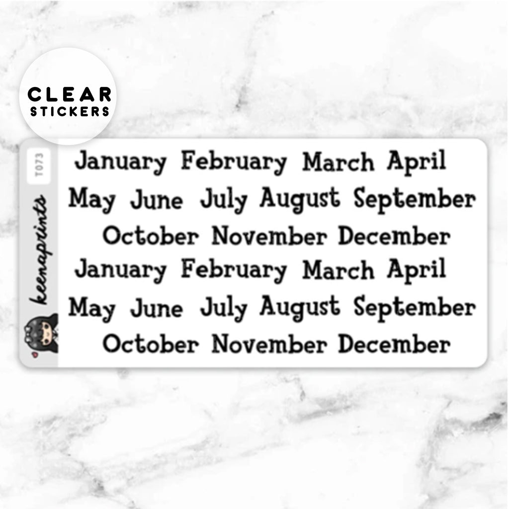ANIMAL CROSSING MONTHS LABEL CLEAR STICKERS - T073