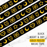 BLACK NIGHT & DAY GOLD FOILED DREAMS WASHI TAPE - WT019 - KeenaPrints planner stickers bullet journal diary sticker emoji stationery kawaii cute creative planner