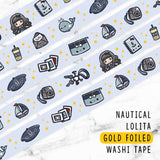 NAUTICAL LOLITA GOLD FOILED WASHI TAPE - WT020