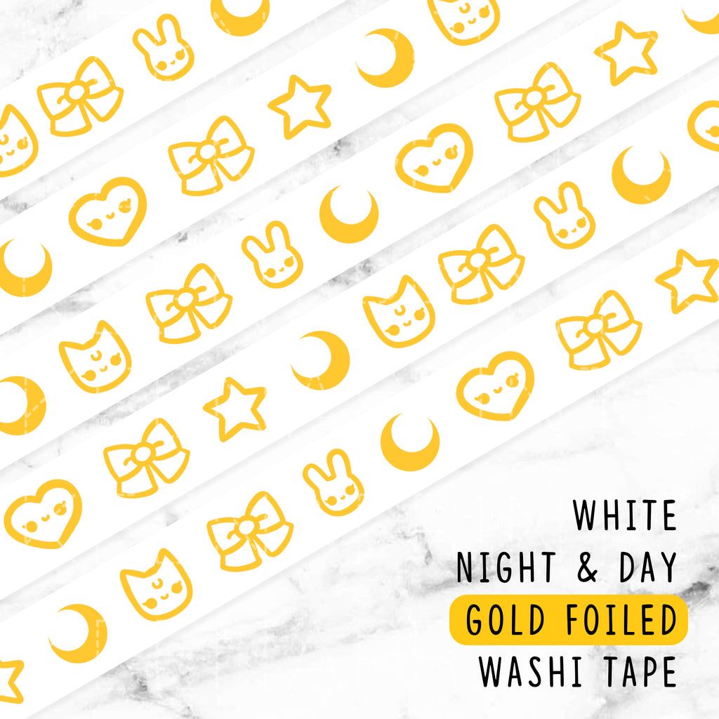 WHITE NIGHT & DAY GOLD FOILED WASHI TAPE - WT018 - KeenaPrints planner stickers bullet journal diary sticker emoji stationery kawaii cute creative planner