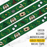 GREEN WIZARD WONDERLAND GOLD FOILED WASHI TAPE - WT010 - KeenaPrints planner stickers bullet journal diary sticker emoji stationery kawaii cute creative planner
