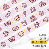 CANDY LOLITA GOLD FOILED WASHI TAPE - WT001 - KeenaPrints planner stickers bullet journal diary sticker emoji stationery kawaii cute creative planner