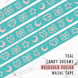 TEAL CANDY DREAMS ROSEGOLD FOILED WASHI TAPE - WT015