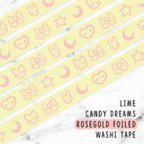 LIME CANDY DREAMS ROSEGOLD FOILED WASHI TAPE - WT014 - KeenaPrints planner stickers bullet journal diary sticker emoji stationery kawaii cute creative planner