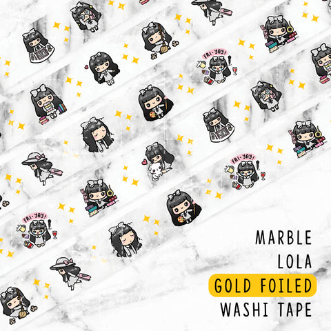 TEA TIME LOLITA GOLD FOILED WASHI TAPE - WT004