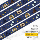 BLUE WIZARD WONDERLAND GOLD FOILED WASHI TAPE - WT008