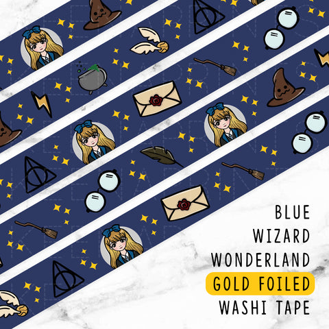 GREEN WIZARD WONDERLAND DREAMS GOLD FOILED SLIM WASHI TAPE 8mm - WT048