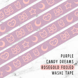 PURPLE CANDY DREAMS ROSEGOLD FOILED WASHI TAPE - WT013 - KeenaPrints planner stickers bullet journal diary sticker emoji stationery kawaii cute creative planner