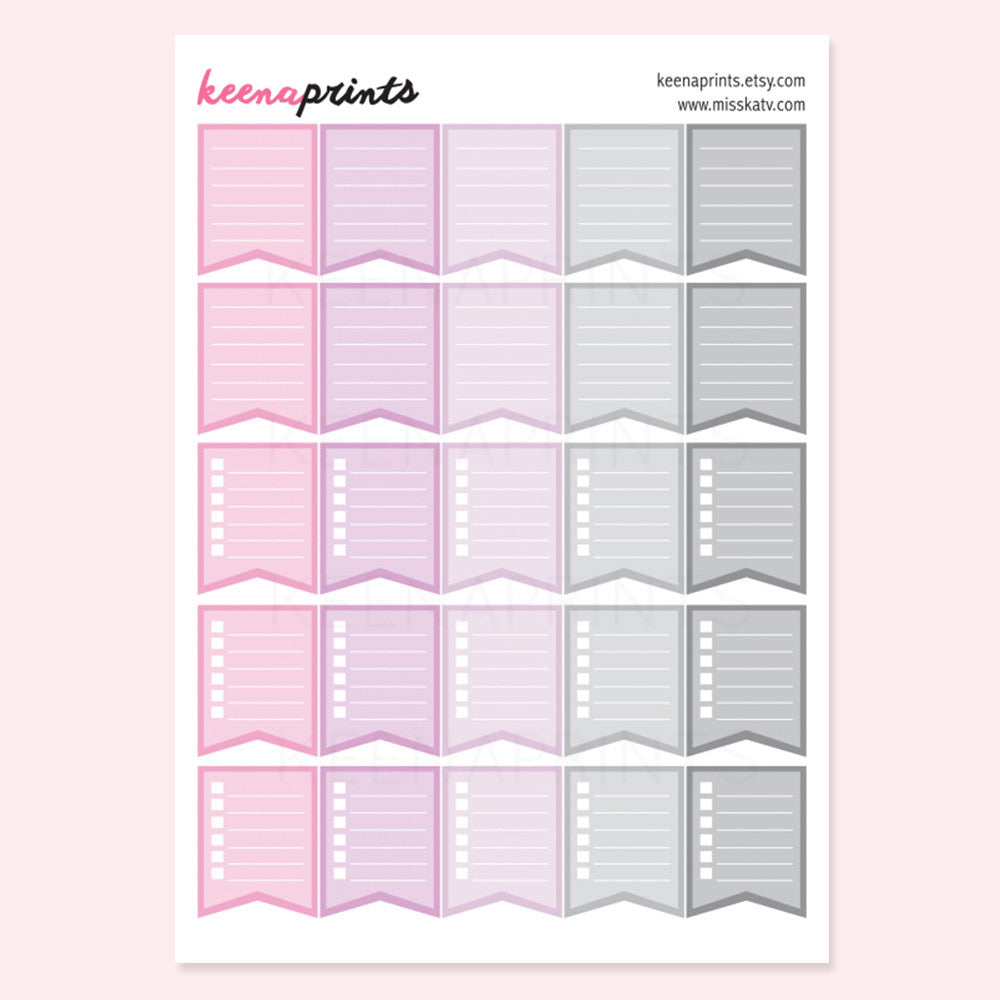 CHECKLIST FLAGS PRINTABLE STICKERS - PINKS - KeenaPrints planner stickers bullet journal diary sticker emoji stationery kawaii cute creative planner