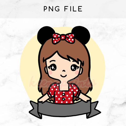 PRE-MADE CHIBI MINNIE KEENARI PRINTABLE CLIP ART