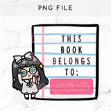 BOOK LABEL LOLA PRINTABLE CLIP ART - KeenaPrints planner stickers bullet journal diary sticker emoji stationery kawaii cute creative planner