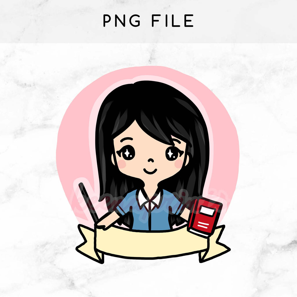 image about Printable Clip Art identified as PRE-Generated CHIBI Trainer WEDNESDAY PRINTABLE CLIP Artwork