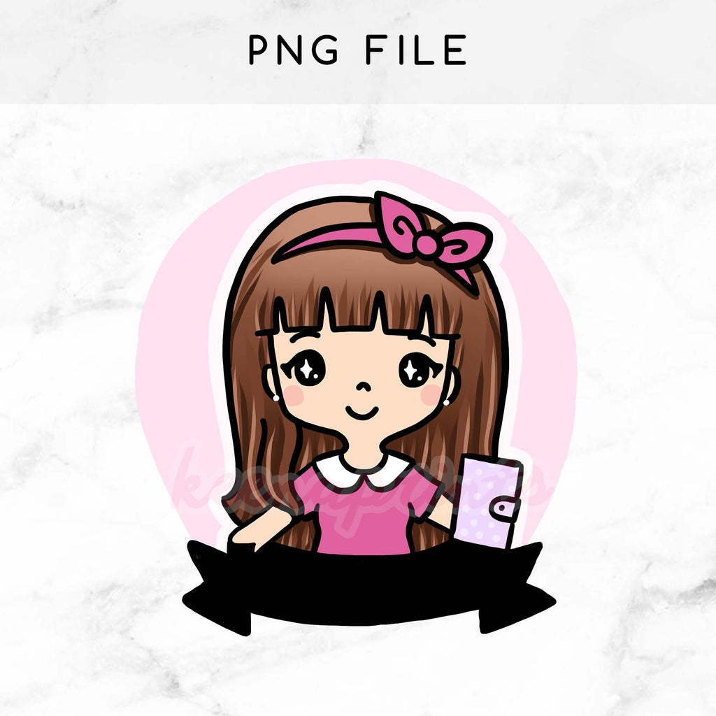 pre made chibi planner girl keenachi printable clip art keenaprints rh keenaprints com clipart stickers free stickers clipart