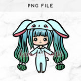 TEAL BUNNY LOLITA CHIBI PRINTABLE CLIP ART - KeenaPrints planner stickers bullet journal diary sticker emoji stationery kawaii cute creative planner