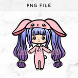 PINK BUNNY LOLITA CHIBI PRINTABLE CLIP ART - KeenaPrints planner stickers bullet journal diary sticker emoji stationery kawaii cute creative planner