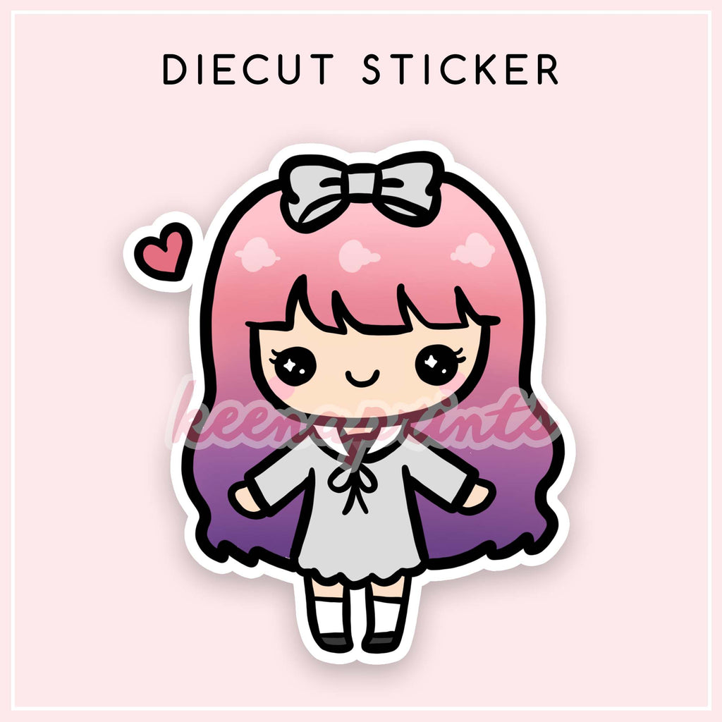 PASTEL LOLITA DIECUT STICKER - DC004 - KeenaPrints planner stickers bullet journal diary sticker emoji stationery kawaii cute creative planner