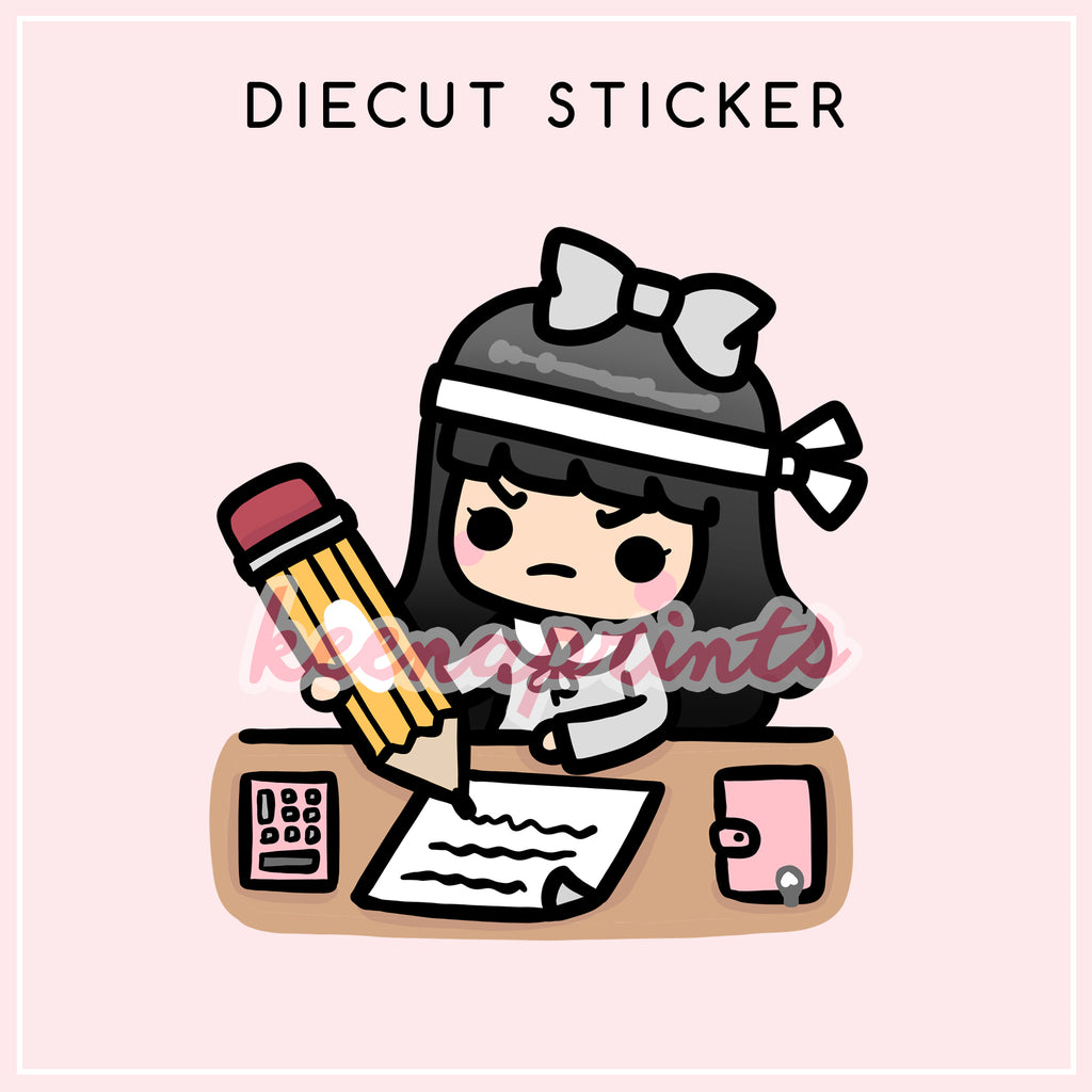 STUDYING LOLA DIECUT STICKER - DC024 - KeenaPrints planner stickers bullet journal diary sticker emoji stationery kawaii cute creative planner