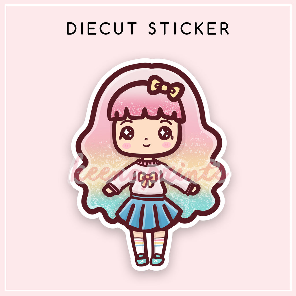 SWEET LOLITA DIECUT STICKER - DC009 - KeenaPrints planner stickers bullet journal diary sticker emoji stationery kawaii cute creative planner