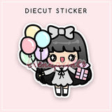 BIRTHDAY LOLITA DIECUT STICKER - DC015 - KeenaPrints planner stickers bullet journal diary sticker emoji stationery kawaii cute creative planner