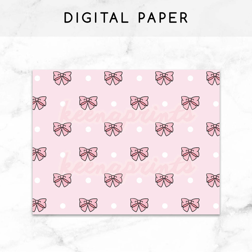 PINK BOWS DIGITAL PAPER PRINTABLE - KeenaPrints planner stickers bullet journal diary sticker emoji stationery kawaii cute creative planner