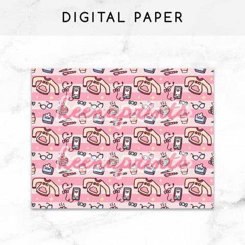 PINK BOWS DIGITAL PAPER PRINTABLE