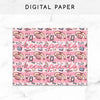 SWEET LOLITA PINK DIGITAL PAPER PRINTABLE - KeenaPrints planner stickers bullet journal diary sticker emoji stationery kawaii cute creative planner