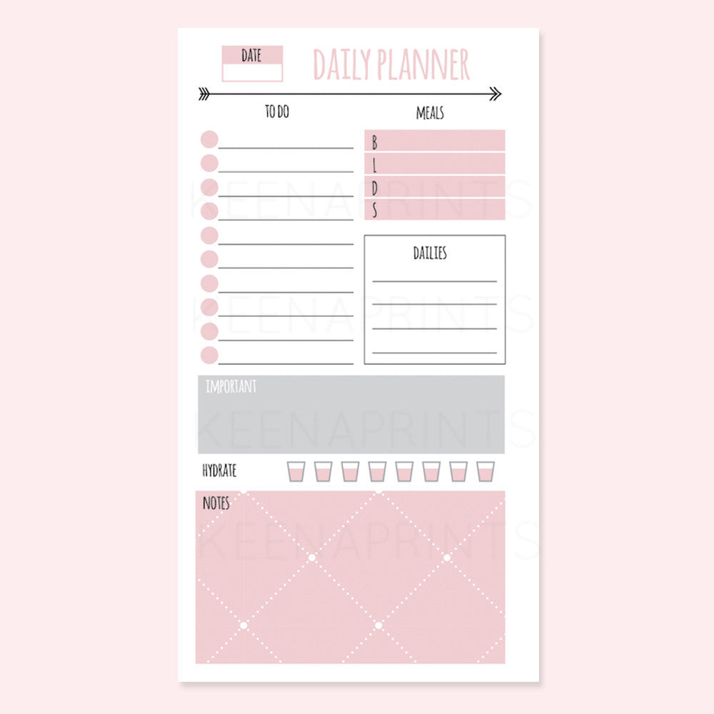 SIMPLE DAILY PLANNER PRINTABLE [PERSONAL RINGS] - KeenaPrints planner stickers bullet journal diary sticker emoji stationery kawaii cute creative planner