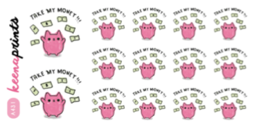 TAKE MY MONEY KEEMOJI EMOTION STICKERS A431 - SET OF 14 - KeenaPrints planner stickers bullet journal diary sticker emoji stationery kawaii cute creative planner
