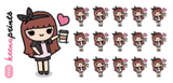 COFFEE LOVER KEENACHI CHIBI STICKERS A445 - SET OF 16 - KeenaPrints planner stickers bullet journal cute stickers stationery kawaii label header icons shop eclp erin condren life planner stickers  bujo study stickers student work