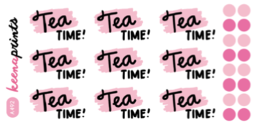 TEA TIME WORDS DECO STICKERS A492 - SET OF 9 - KeenaPrints planner stickers bullet journal diary sticker emoji stationery kawaii cute creative planner