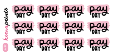 PAY DAY WORDS DECO STICKERS A497 - SET OF 12 - KeenaPrints planner stickers bullet journal diary sticker emoji stationery kawaii cute creative planner