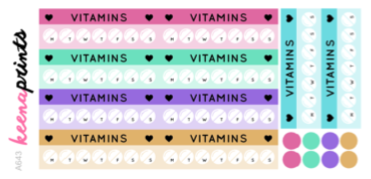 VITAMIN TRACKER DAILY STICKERS A643 - SET OF 18 - KeenaPrints planner stickers bullet journal diary sticker emoji stationery kawaii cute creative planner