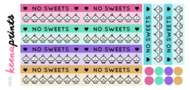 NO SWEETS TRACKER DAILY STICKERS A646 - SET OF 18 - KeenaPrints planner stickers bullet journal diary sticker emoji stationery kawaii cute creative planner