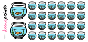 FISH BOWL STICKERS DAILY A689 - SET OF 26