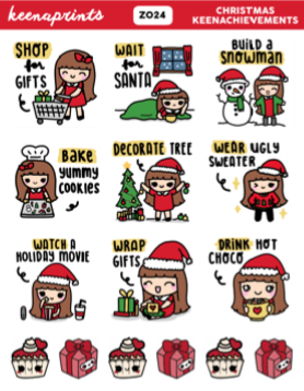 WINTER / CHRISTMAS LABELS PASTEL PRINCESS COMBO STICKERS K064