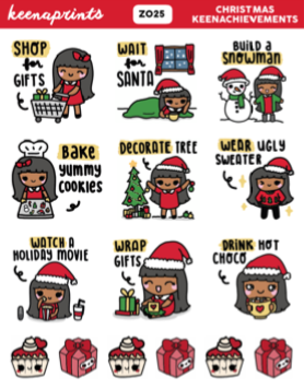 CHRISTMAS COUNTDOWN STICKERS KEENACHI Z036 - SET OF 18