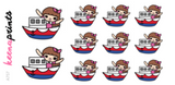 SHIP TRAVEL STICKERS KEENACHI A757 - SET OF 11 - KeenaPrints planner stickers bullet journal diary sticker emoji stationery kawaii cute creative planner