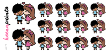 BI-RACIAL KISSING COUPLE STICKERS A771 - SET OF 14 - KeenaPrints planner stickers bullet journal diary sticker emoji stationery kawaii cute creative planner