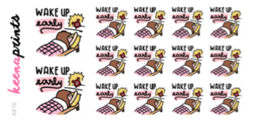 WAKE UP EARLY STICKERS KEENACHI - A816 - KeenaPrints planner stickers bullet journal diary sticker emoji stationery kawaii cute creative planner